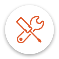 Home renovation icon in orange