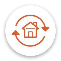 orange refinance icon with a home and arrows around it